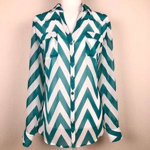 New York & Co Sheer Long Sleeves Blouse Size Large
